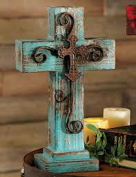 santa fe standing cross turquoise country decorating