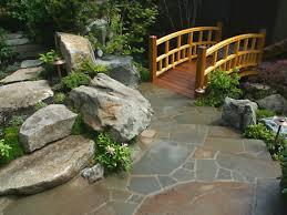 magnificent japanese garden design with polished bridge part