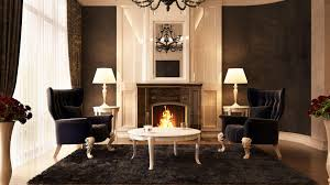 hd black chairs in front of the fireplace wallpaper download
