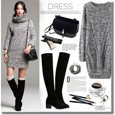 how to wear knitted dresses with different shoes 2017