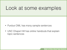 how to write a topic sentence with sle topic sentences