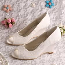 wedding shoes wedges aliexpress buy wedopus mw1009 women wedge heel peep toe slip