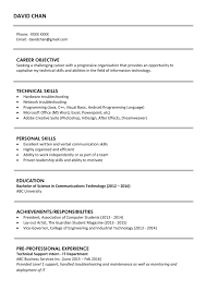 Resume Sample With Objectives by Sample Resume For Fresh Graduates It Professional Jobsdb Hong Kong
