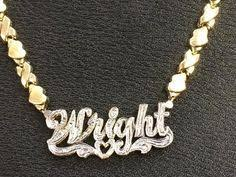 3d Nameplate Necklace Personalized Gold Overlay Double 3d Any Name Plate Necklace Free