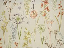 Exclusive Curtain Fabrics Designs Wildflowers Terracotta 100 Cotton Fabric Curtain Fabric