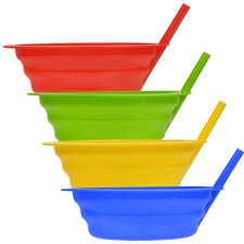 bulk colorful plastic bowls with built in straws at dollartree
