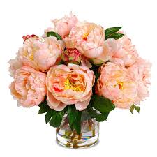 Faux Floral Centerpieces peony faux flower arrangement in soft peach color in love