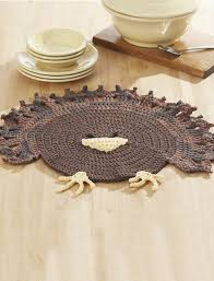 thanksgiving turkey patterns lily turkey placemat crochet pattern yarnspirations