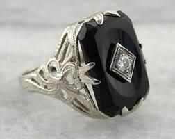 vintage black diamond engagement ring etsy