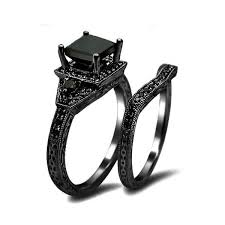 black rings women images Princess cut cz 925 sterling silver engagement wedding ring jpg