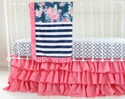 Custom Girls Bedding by Pink And Navy Baby Bedding Custom Crib Bedding Navy