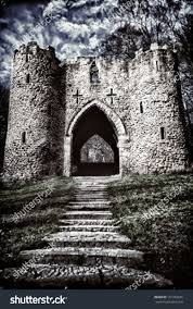 spooky stone stairs entrance old castle stock photo 137703926