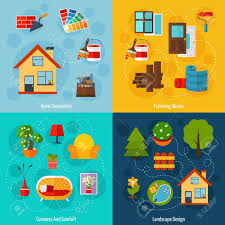 graphic design works at home interior design concept set with home decoration finishing works