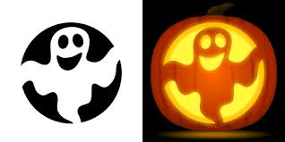 ghost pumpkin carving stencil free pdf pattern to download and