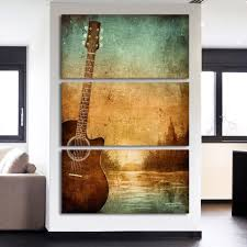 3 piece printed canvas wall art acoustic guitar lovers pictures
