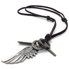 leather cord necklace mens images Konov jewelry mens womens 2pcs angel wing cross pendant adjustable jpg