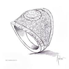 hand drawing for custom engagement ring