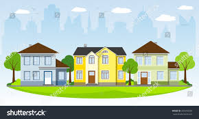 three houses three houses on outskirts stock vector 245499250