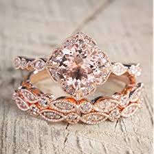 morganite bridal set 2pcs morganite bridal set engagement ring gold