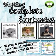 Meme Sentences - writing complete sentences with memes no prep practice for older