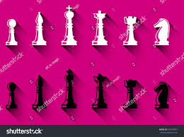 set chess figures black white chess stock vector 426799873