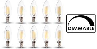 dimmable led filament candle bulbs pack of 10 e14 ses 4w