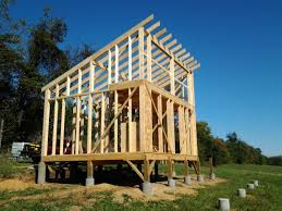 16x24 post and pier cabin question about framing the roof of a shed style roof cabin small