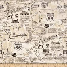 Route 66 Map Timeless Treasures Route 66 Natural Discount Designer Fabric