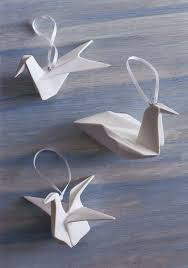 white porcelain origami bird ornaments