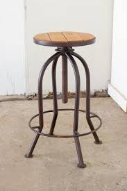 Industrial Adjustable Bar Stools Adjustable Rustic Finish Bar Stool With Recycled Wood U2013 Les