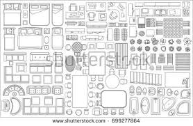 Floor Plan View Set Linear Icons Interior Top View Stock Vector 699277864