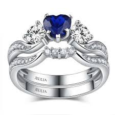 Gold Wedding Ring Sets by Jeulia Three Stone Heart Cut Created Sapphire Women U0027s Wedding Set