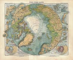 Wall Maps Of The World by 1911 North Pole Original Antique Map Arctic By Carambasvintage
