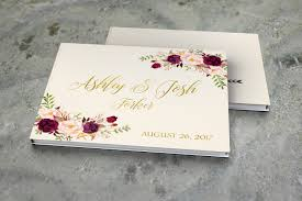 rustic wedding album wedding guest book burgundy gold wedding guestbook bohemian floral