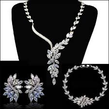 earrings necklace bracelet images High quality sparkling aaa cubic zirconia wedding bridal jewelry jpg