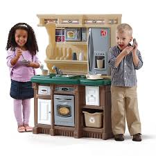 step2 table and chairs green and tan amazon com step2 lifestyle custom kitchen ii brown tan green toys