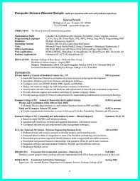 Sample Resume Of Network Administrator by Computer Science Resume Template Resume Computer Science