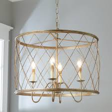 interior gold trellis drum cage chandelier with 4 lights for