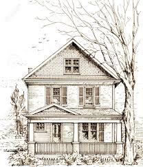 pen and ink sketch of a typical north american town house with
