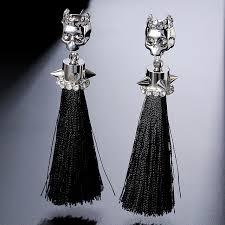 cool dangle earrings aliexpress buy cool silver rivet skull black tassel
