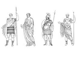 different clothes of ancient rome figures coloring page netart