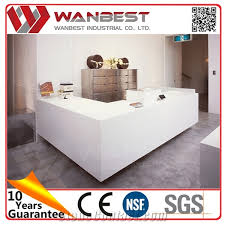Industrial Style Reception Desk Artificial Stone Reception Counter Table Top Cheap Reception Desk