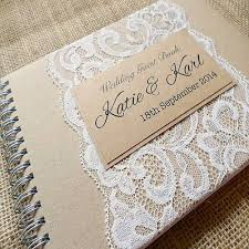 vintage guest book rustic kraft personalised wedding guest book with lace handmade