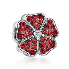 cz flowers spacer fit european 925 silver charms