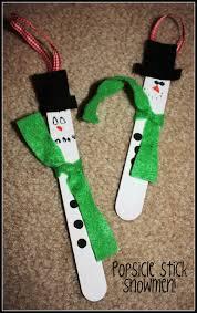 popsicle stick snowman ornament classroom ideas pinterest