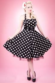 white polkadots on black 1950s rockabilly dress