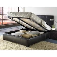 update your room with this leather queen size storage bed and