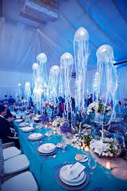 theme decorations the sea wedding motif with hanging jellyfish table