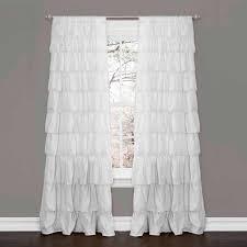 Curtains With Ruffles Ruffle White Window Curtain Walmart