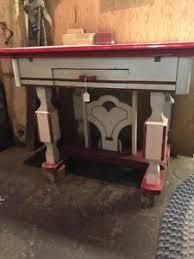 vintage enamel kitchen table vintage enamel top mid century kitchen table red white ebay